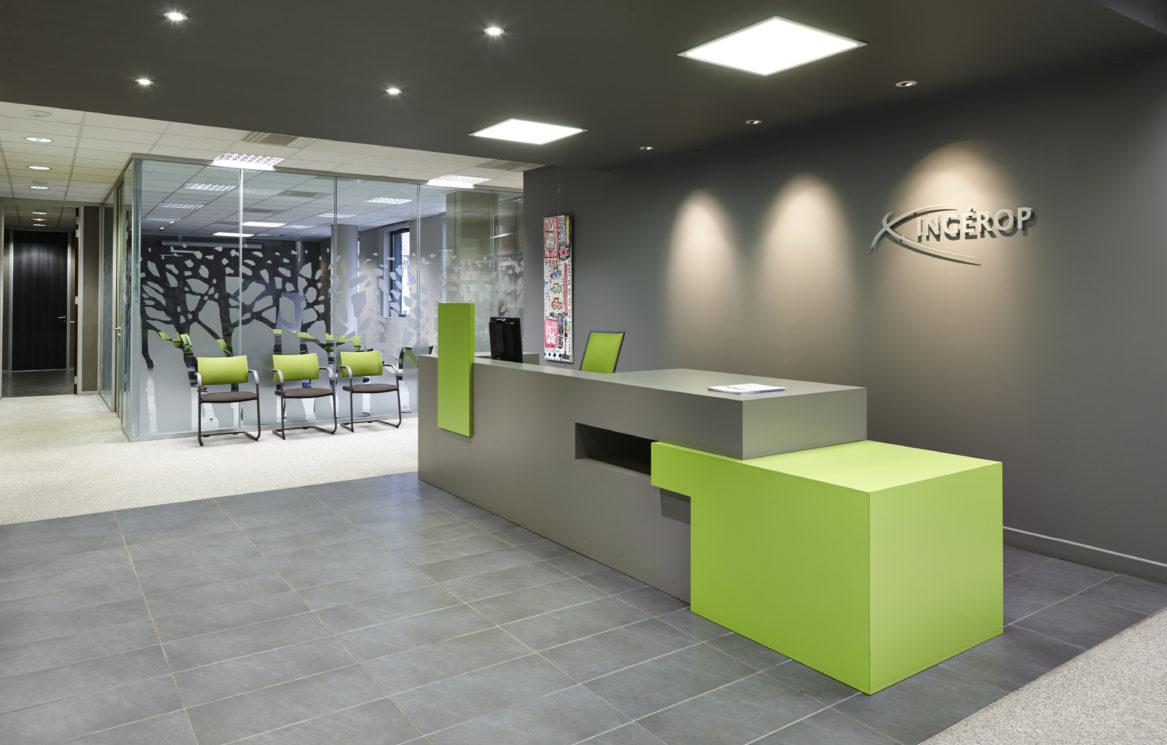 Aménagement des bureaux de l'entreprise INGEROP. Architecte d'intérieur.